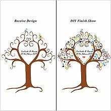 Personalisierte Leinwand Hochzeit Fingerabdruck Baum Gästebuch + 12Farben Tinte Pads DIY Malerei für Baby Dusche Geburtstag Party, S, JMAX