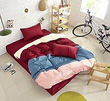 Personalisierte Modefarbe Baumwolle Eine Vierköpfige Familie Bettwäsche,Redbeans-1.8