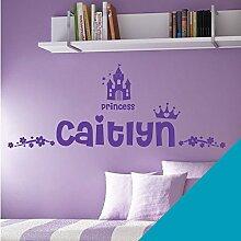 Personalisierte Namen Mädchen Art Wand Aufkleber–Princess Castle Krone Floral Motiv–[nur Nachricht uns mit der Name.], Himmelblau, M 580 x 150 mm