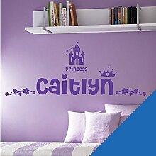 Personalisierte Namen Mädchen Art Wand Aufkleber–Princess Castle Krone Floral Motiv–[nur Nachricht uns mit der Name.], Marineblau, L (950 x 290 mm)