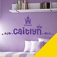 Personalisierte Namen Mädchen Art Wand Aufkleber–Princess Castle Krone Floral Motiv–[nur Nachricht uns mit der Name.], Mittelgelb, L (950 x 290 mm)