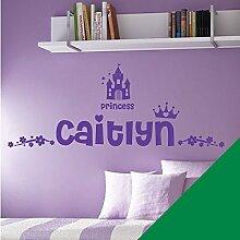 Personalisierte Namen Mädchen Art Wand Aufkleber–Princess Castle Krone Floral Motiv–[nur Nachricht uns mit der Name.], meadow, L (950 x 290 mm)