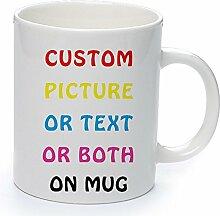 Personalisierte Tasse,Individuelle Tasse-Personalisierte Becher mit mit Text, Foto & Sprüchen als Geschenk-Idee,Kaffeetasse,Namenstasse Weiße Keramik Tasse für Männer und Frauen