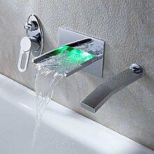 Personalisierte wandmontierten LED zeitgenössischen Kupfer Badezimmer Waschbecken Armaturen-Chromsilber