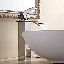 Personalisierte zeitgenössische Wasserfall Einhebel Bad Waschbecken Armatur Chrom