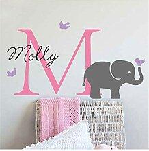 Personalisierter Anfangsname Elefant Wandaufkleber