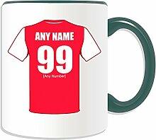 """Personalisierter Becher (Arsenal London Fußball-Club-Design, Farbe zur Auswahl, mit Name/Nachricht an ihr einzigartiges Becher-The Gunners """", keramik, grün"""