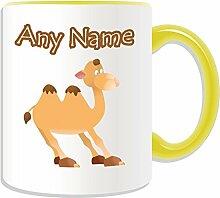 Personalisierter Becher, Camel, Tier Design, Tier Motiv, Farbe zur Auswahl, mit Name und Das einzigartige Becher Nachricht, keramik, gelb