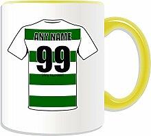 Personalisierter Becher (- Celtic Football Club Logo-Design, Farbe zur Auswahl, mit Name/Nachricht an ihr einzigartiges Becher-Die Bhoys Hoops/Kelten/-, keramik, gelb