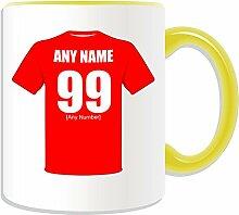 Personalisierter Becher-Charlton Athletic Fußball-Club-Design, verschiedene Farben) auf Nachricht/Name Das einzigartige Becher-Die Addicks Robins Valiants Army, Rot, keramik, gelb