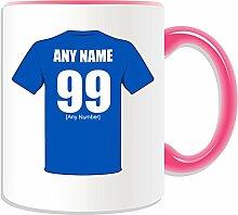 Personalisierter Becher (Chelsea-Football-Club-Design, Farbe zur Auswahl, mit Name/Nachricht an ihr einzigartiges Becher-The Blues Rentner, keramik, rose