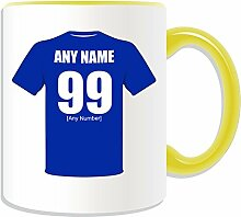 Personalisierter Becher (Design FC Everton-Design, Farbe zur Auswahl, mit Name/Nachricht an ihr einzigartiges Becher The Toffees School of Blues Science Völker Club, keramik, gelb