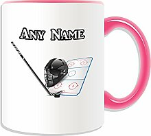 Personalisierter Becher, Eishockey-Sport-Design, Farbe zur Auswahl, mit Name/Nachricht an ihr einzigartiges NHL-Becher, keramik, rose