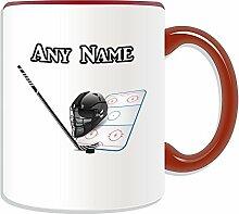 Personalisierter Becher, Eishockey-Sport-Design, Farbe zur Auswahl, mit Name/Nachricht an ihr einzigartiges NHL-Becher, keramik, ro