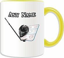 Personalisierter Becher, Eishockey-Sport-Design, Farbe zur Auswahl, mit Name/Nachricht an ihr einzigartiges NHL-Becher, keramik, gelb