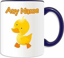 Personalisierter Becher, gelbes Enten, Vogel Design, Retro-alle Farben erhältlich) Name und Nachricht an ihr einzigartiges Becher, keramik, blau