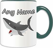 Personalisierter Becher, Haifisch-Design, Tier Motiv, Farbe zur Auswahl, mit Name und Nachricht Das einzigartige Becher, keramik, grün