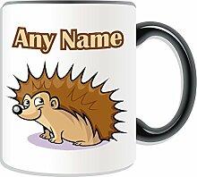 Personalisierter Becher-Igel, Tier Design, Tier Motiv, Farbe zur Auswahl, mit Name und Das einzigartige Becher-Nachricht Hedgepig-Seeigel, keramik, schwarz