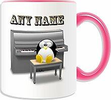 Personalisierter Becher (Klavier-in-Design, Pinguin-Design, verschiedene Farben) Name/Nachricht auf das einzigartige Musik-Musikinstrument, keramik, rose