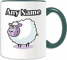 Personalisierter Becher-Lamm, Tier Design, Tier Motiv, Farbe zur Auswahl, mit Name und Das einzigartige Nachricht Becher-Schaf, keramik, grün