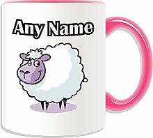 Personalisierter Becher-Lamm, Tier Design, Tier Motiv, Farbe zur Auswahl, mit Name und Das einzigartige Nachricht Becher-Schaf, keramik, rose