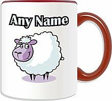 Personalisierter Becher-Lamm, Tier Design, Tier Motiv, Farbe zur Auswahl, mit Name und Das einzigartige Nachricht Becher-Schaf, keramik, ro