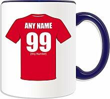 Personalisierter Becher (, Liverpool-Football-Club-Design, Farbe zur Auswahl, mit Name Nachricht an ihr einzigartiges/Becher, The Reds Rote Armee, keramik, blau