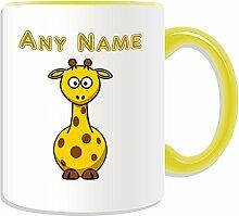 Personalisierter Becher lustigen Giraffe, Tier Design, Tier Motiv, Farbe zur Auswahl, mit Name/Nachricht an ihr einzigartiges kurz Hals, keramik, gelb