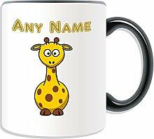 Personalisierter Becher lustigen Giraffe, Tier Design, Tier Motiv, Farbe zur Auswahl, mit Name/Nachricht an ihr einzigartiges kurz Hals, keramik, schwarz
