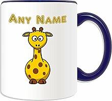 Personalisierter Becher lustigen Giraffe, Tier Design, Tier Motiv, Farbe zur Auswahl, mit Name/Nachricht an ihr einzigartiges kurz Hals, keramik, blau