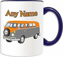 Personalisierter Becher (Mini-Bus Design Transport-Design, Farbe zur Auswahl, mit Name/Nachricht an ihr einzigartiges-Fahrer Fahrzeug Kfz-VW Microbus VW-Bulli Camper Bus, keramik, blau