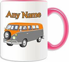 Personalisierter Becher (Mini-Bus Design Transport-Design, Farbe zur Auswahl, mit Name/Nachricht an ihr einzigartiges-Fahrer Fahrzeug Kfz-VW Microbus VW-Bulli Camper Bus, keramik, rose