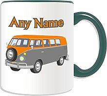 Personalisierter Becher (Mini-Bus Design Transport-Design, Farbe zur Auswahl, mit Name/Nachricht an ihr einzigartiges-Fahrer Fahrzeug Kfz-VW Microbus VW-Bulli Camper Bus, keramik, grün