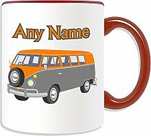 Personalisierter Becher (Mini-Bus Design Transport-Design, Farbe zur Auswahl, mit Name/Nachricht an ihr einzigartiges-Fahrer Fahrzeug Kfz-VW Microbus VW-Bulli Camper Bus, keramik, ro