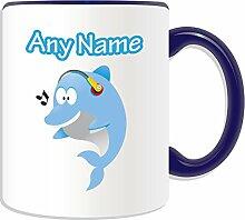 Personalisierter Becher (Musik-Delfin Tier-Design, Farbe zur Auswahl, mit Nachricht/Name an ihr einzigartiges Becher, keramik, blau
