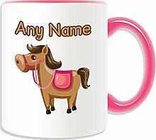 Personalisierter Becher Pferd, braun, Motiv Tiere, Farbe zur Auswahl, mit Name/Nachricht an ihr einzigartiges-Spielzeug, keramik, rose