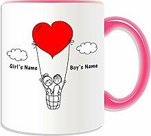 Personalisierter Becher (Romantic Heart Balloon Design Romance, verschiedene Farben) Name Nachricht auf das einzigartige/Becher-Paar, keramik, rose