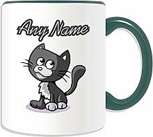 Personalisierter Becher, sitzende schwarze Katze, Tier-Design, verschiedene Farben) auf Nachricht/Name Das einzigartige Becher-Kätzchen, keramik, grün