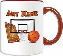 Personalisierter Becher Sport (Basketball-Design, Farbe zur Auswahl, mit Name und Nachricht Das einzigartige Becher slam dunk NBA-Rückwand, keramik, ro