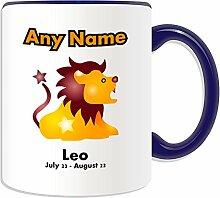 Personalisierter Becher Sternzeichen Löwe (Design-Design, Farbe zur Auswahl, mit Name und Nachricht das Einzigartige, Astrologie Astro Sternzeichen Löwe Juli-August 22 23, keramik, blau