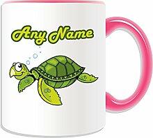 Personalisierter Becher Tier, Schildkröte, Design-Sealife, Farbe zur Auswahl, mit Nachricht/Name an ihr einzigartiges Becher-Schildkröte, keramik, rose