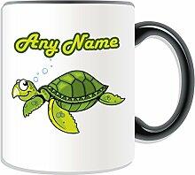 Personalisierter Becher Tier, Schildkröte, Design-Sealife, Farbe zur Auswahl, mit Nachricht/Name an ihr einzigartiges Becher-Schildkröte, keramik, schwarz