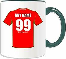 Personalisierter Becher, Wrexham (Motiv Football-Club-Design, Farbe zur Auswahl, mit Name Nachricht an ihr einzigartiges/Becher-Die zwei Drachen Rotkehlchen rot, keramik, grün