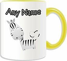 Personalisierter Becher (Zebra-Tier-Design, Farbe zur Auswahl, mit Name und Nachricht das Einzigartige Becher, keramik, gelb