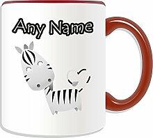 Personalisierter Becher (Zebra-Tier-Design, Farbe zur Auswahl, mit Name und Nachricht das Einzigartige Becher, keramik, ro