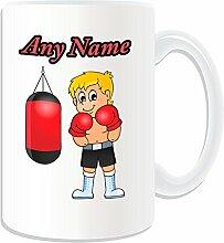 """Personalisierter Geschenk-Boxhandschuhe Blonde Becher (Martial Arts Design """", weiß-auf Nachricht/Name Das einzigartige Kung-Fu-Boxer, gelb,"""
