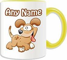 Personalisierter Geschenk-Happy Dog Becher#1 (Tier-Design, verschiedene Farben)-alle Name und Nachricht an ihr einzigartiges Becher-Welpe, keramik, gelb