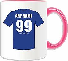 Personalisierter Geschenk-Leicester City Becher (Motiv Football-Club-Design, verschiedene Farben) Name Nachricht auf das einzigartige/Becher-Army der Füchse Blau, keramik, rose