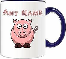 Personalisierter Geschenk-Silly Pig Becher, Tier-Design, verschiedene Farben)-Name Nachricht. An ihr einzigartiges Piggy Pink, keramik, blau