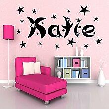 Personalisierter Name & Sterne mädchen jungen zimmer Wandkunst Aufkleber Wandgemälde Transfer - Rosa Matt, L